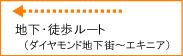 地下・徒歩ルート(ダイヤモンド地下街~エキニア~)―詳細地図(pdf 800KB)